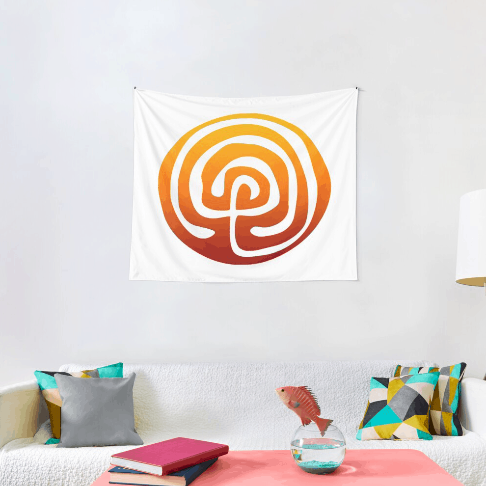 white wall tapestry with orange Birthing From Within logo