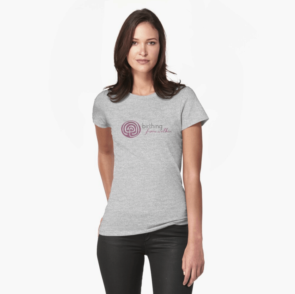 woman wearing a gray fitted T-shirt with nurgundy Birthing From Within logo