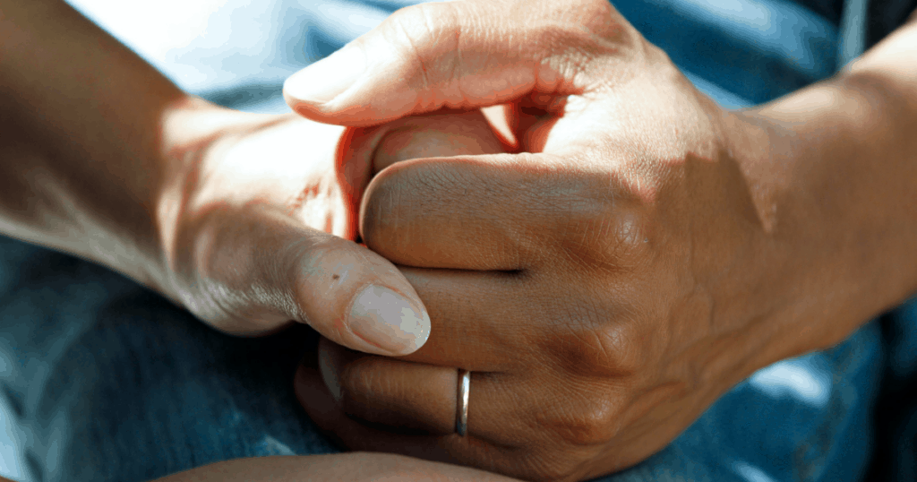 birthing from within for midwives: image of closeup of two clasped hands